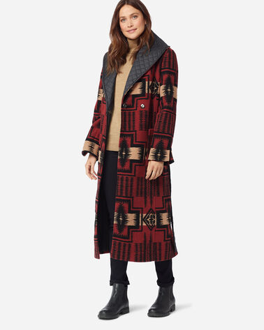 ADDITIONAL VIEW OF WOMEN'S MERRILL SHAWL-COLLAR WRAP COAT IN RED HARDING