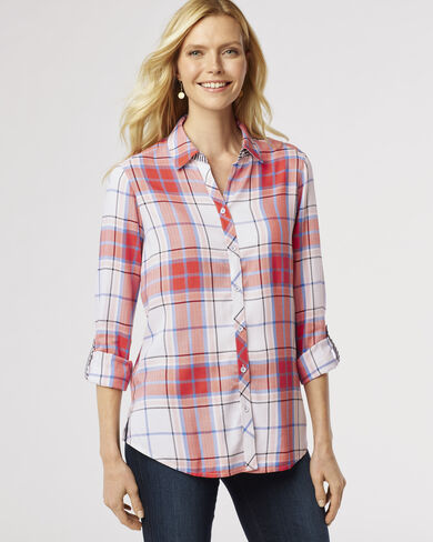 ZOEY BLOUSE, MULTI PLAID, large