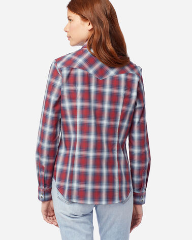 ALTERNATE VIEW OF WOMEN'S LONG-SLEEVE FRONTIER SHIRT IN RED/NAVY