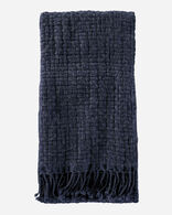 CESTINO WOOL/ALPACA FRINGED THROW IN NAVY MIX