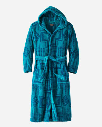 MEN'S JACQUARD COTTON TERRY ROBE IN TEAL/BLUE HARDING