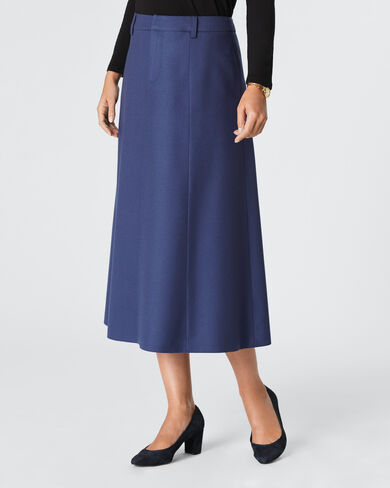 WORSTED WOOL FLANNEL LONG BOOT SKIRT, BALTIC BLUE, large