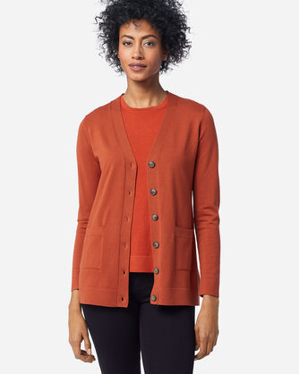 ADDITIONAL VIEW OF WOMEN'S COLBY V-NECK CARDIGAN IN PICANTE