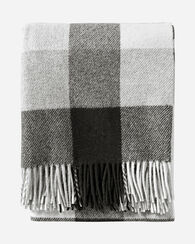 ECO-WISE WOOL FRINGED THROW, BLACK/IVORY, large