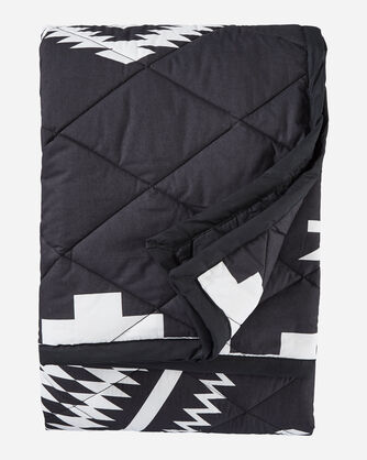 ALTERNATE VIEW OF LOS OJOS QUILTED ROLL-UP THROW IN BLACK/IVORY