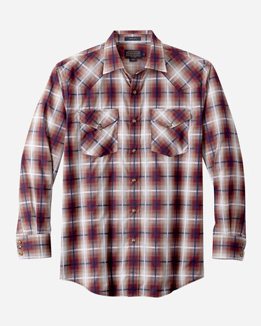 LONG-SLEEVE FRONTIER SHIRT, MAROON/TAN OMBRE, large