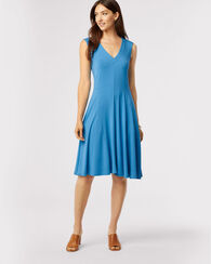 BAMBOO KNIT SLIM FIT DRESS, AZURE, large