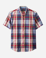 MEN'S SHORT-SLEEVE MADRAS SHIRT IN BLUE/RED PLAID