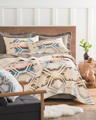 WHITE SANDS PRINTED QUILT SET, IVORY MULTI, large