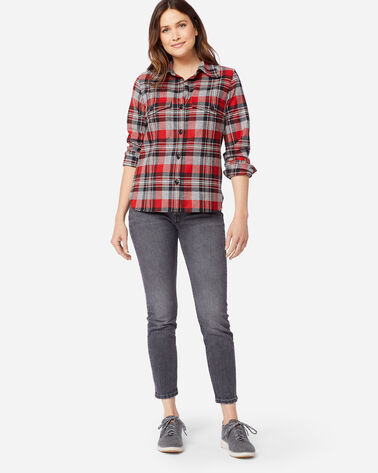 WOMEN'S ULTRALUXE MERINO HARLOW SHIRT in RED/GREY PLAID