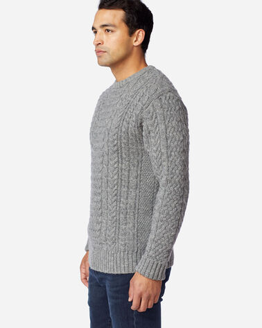 ALTERNATE VIEW OF MEN'S SHETLAND FISHERMAN'S SWEATER IN GREY HEATHER