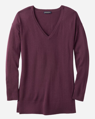 MERINO V-NECK PULLOVER, WINE, large