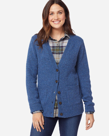 ADDITIONAL VIEW OF WOMEN'S SHETLAND WASHABLE WOOL CARDIGAN IN BLUE RIBBON HEATHER