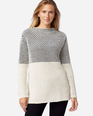 WOMEN'S TEXTURED FUNNEL NECK PULLOVER IN MIDNIGHT NVY/ANTIQUE WH