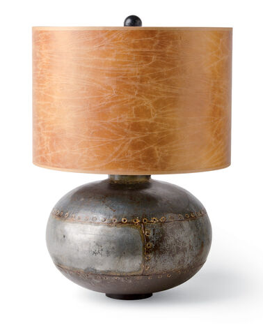 CASSION TABLE LAMP, GUNMETAL/LEATHER, large