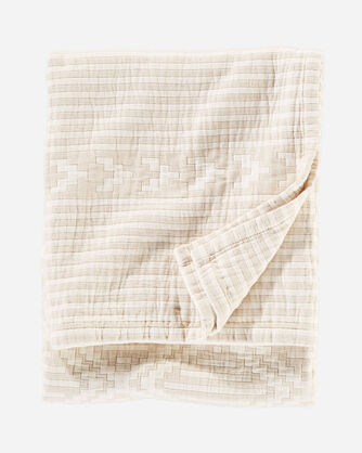 GANADO COTTON MATELASSE THROW IN BEIGE