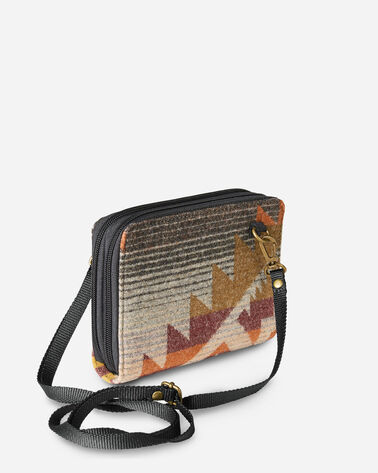 ALTERNATE VIEW OF JACQUARD WALLET ON STRAP IN ROCK CREEK CHARCOAL