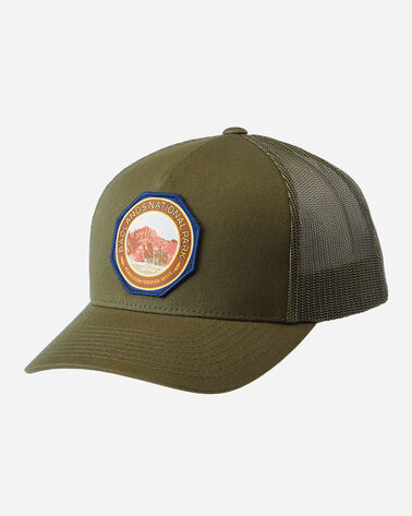 NATIONAL PARK TRUCKER HAT, ARMY GREEN BADLANDS, large