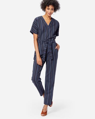 STRIPE WOOL BELTED HIGH WAIST PANTS