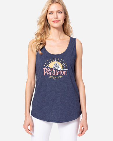 WOMEN'S SURF PENDLETON GRAPHIC TANK IN NAVY HEATHER