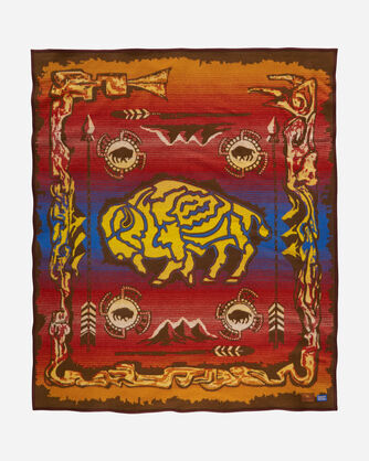 BUFFALO CREATION STORY BLANKET, DARK BROWN, large
