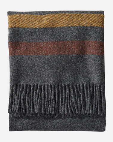 ALTERNATE VIEW OF ECO-WISE WOOL FRINGED THROW IN OXFORD STRIPE