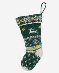 REINDEER STOCKING, GREEN, large