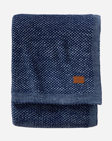TWO TONE KNIT BLANKET, NAVY, large