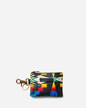 TUCSON CANOPY CANVAS ID POUCH KEY RING IN BLACK/MULTI
