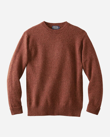 SHETLAND WASHABLE WOOL CREWNECK, UMBER, large
