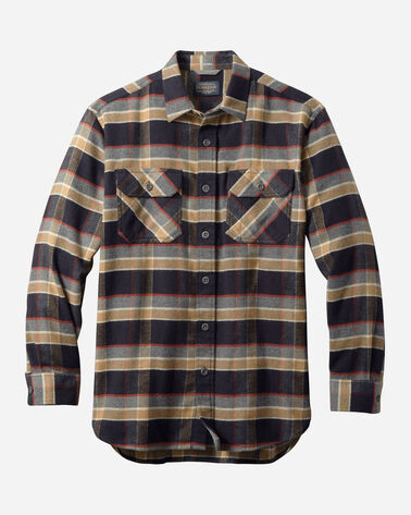 BURNSIDE DOUBLE-BRUSHED FLANNEL SHIRT IN BLACK/TAN PLAID