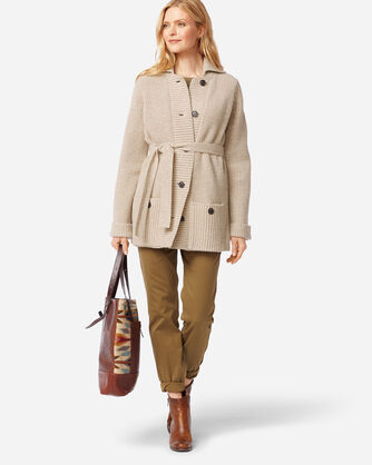 ADDITIONAL VIEW OF WOMEN'S COOS CURRY CARDIGAN IN TAN