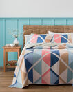 ADDITIONAL VIEW OF SERRADO PIECED QUILT SET IN TAN MULTI
