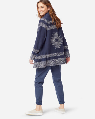 WOMEN'S INDIGO DIAMOND CARDIGAN IN INDIGO/IVORY
