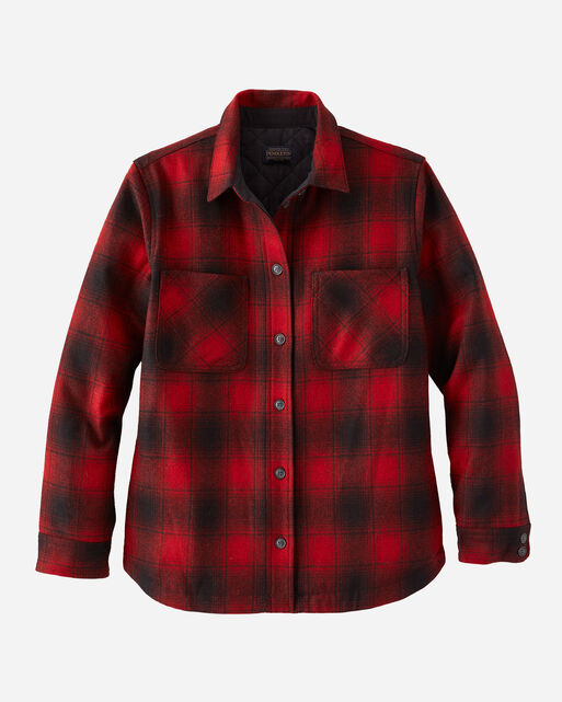 WOMEN'S QUILTED WOOL SHIRT JACKET IN RED/BLACK OMBRE