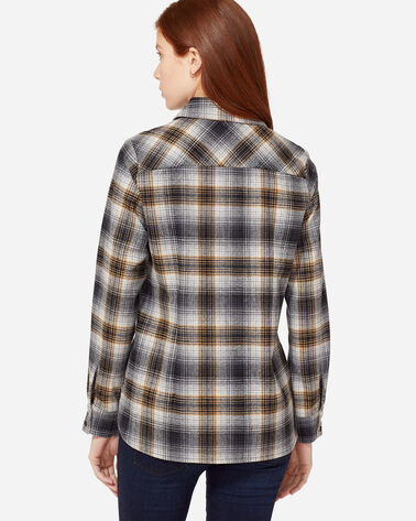 ADDITIONAL VIEW OF ULTRAFINE MERINO CHRISTINA PLAID SHIRT IN TAN/GREY OMBRE