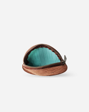SUEDE COIN PURSE, BROWN/AQUA, large