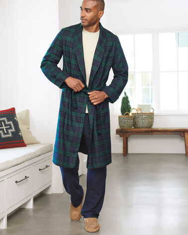 WASHABLE WHISPERWOOL ROBE, BLACK WATCH TARTAN, large