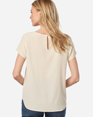 ADDITIONAL VIEW OF WOMEN'S SUEDED SILK SHORT-SLEEVE TOP IN IVORY