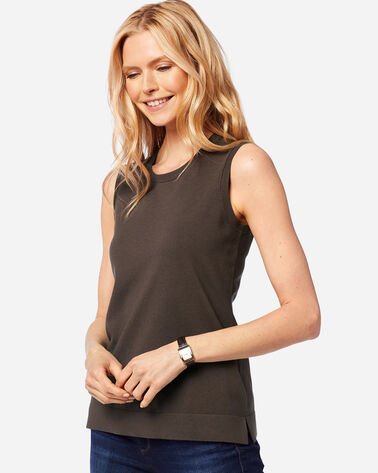 WOMEN'S COLBY SLEEVELESS CREW IN COFFEE