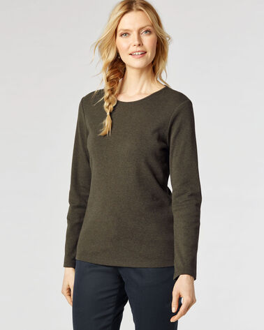 LONG-SLEEVE JEWEL-NECK COTTON TEE, DARK MOSS HEATHER, large