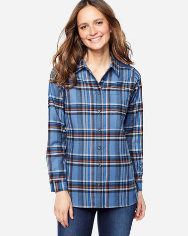 ADDITIONAL VIEW OF ULTRALUXE MERINO ONE POCKET TUNIC IN BLUE PLAID