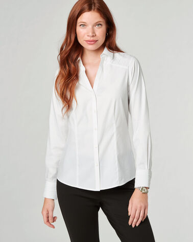 RITA NON-IRON STRETCH COTTON SHIRT, WHITE, large