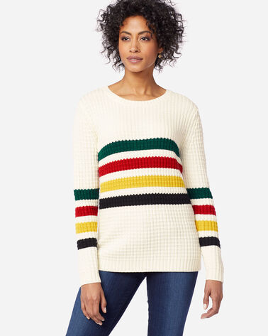 WOMEN'S GLACIER STRIPE MERINO SWEATER, ANTIQUE WHITE, large