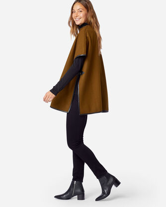 ALTERNATE VIEW OF WOMEN'S LEATHER TRIM ECO-WISE WOOL CAPE IN SMOKY OLIVE