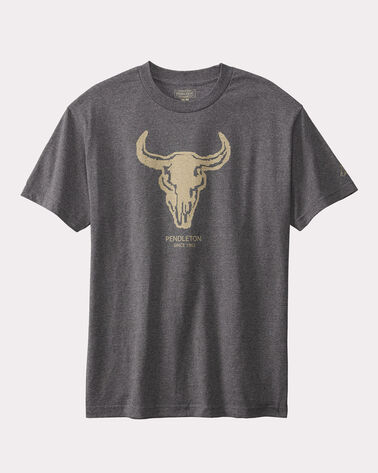 BISON SKULL TEE, CHARCOAL GREY, large