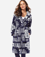 WOMEN'S JACQUARD COTTON TERRY ROBE IN NAVY/ANTIQUE WHITE