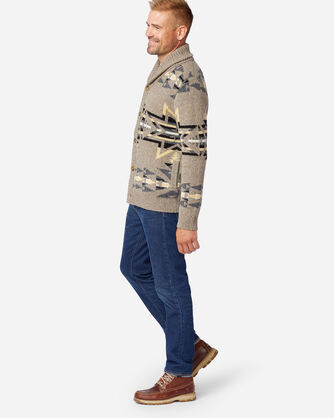 ALTERNATE VIEW OF MEN'S PLAINS STAR SHETLAND CARDIGAN IN GREY/TAN