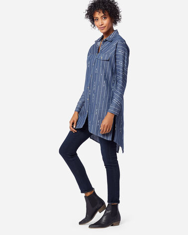 WOMEN'S DELANEY HI-LOW TUNIC IN BLUE/IVORY PRINT