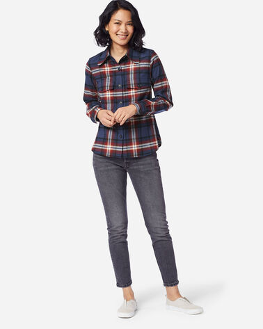 WOMEN'S ULTRALUXE MERINO HARLOW SHIRT, NAVY/RED LARGE PLAID, large